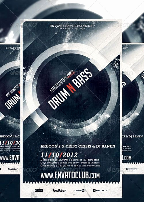 Party Flyer Templates Free Downloads Lovely Drum N Bass Electro Music Party Club Flyer Poster Template