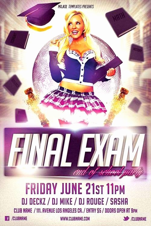 Party Flyer Templates Free Downloads Lovely Free Final Exam Party Flyer Template Psd Download