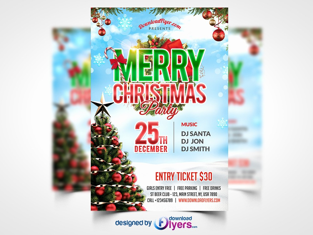 Party Flyer Templates Free Downloads New Christmas Party Flyer Free Psd Template