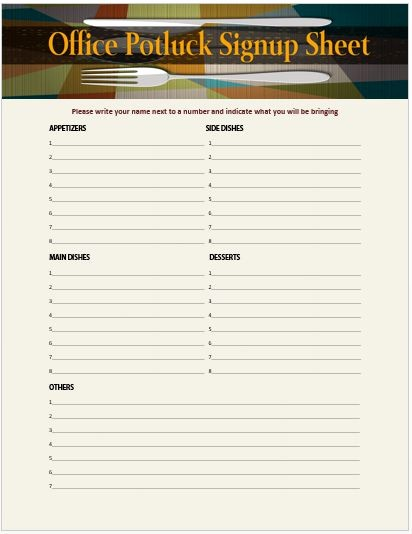 Party Food Sign Up Sheet Awesome 13 Stylish Fice Potluck Signup Sheets for Your Next