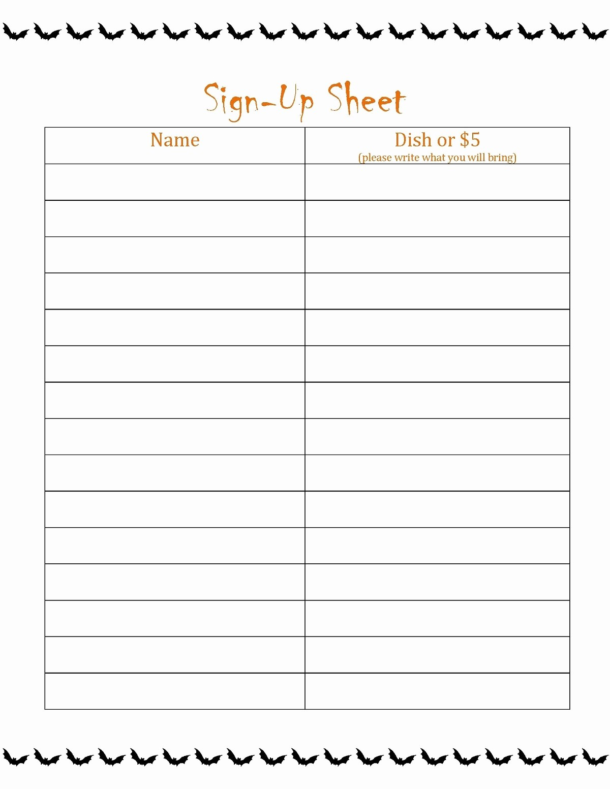 Party Food Sign Up Sheet Luxury Blank Sign Up Sheet Printable