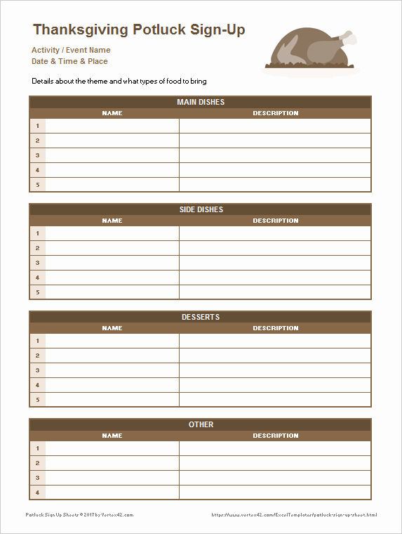 Party Food Sign Up Sheet Unique 25 Printable attendance Sheet Templates [excel Word