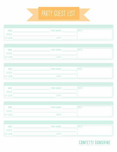 Party Guest List Template Free Beautiful 6 Best Of Free Printable Birthday Party Guest List