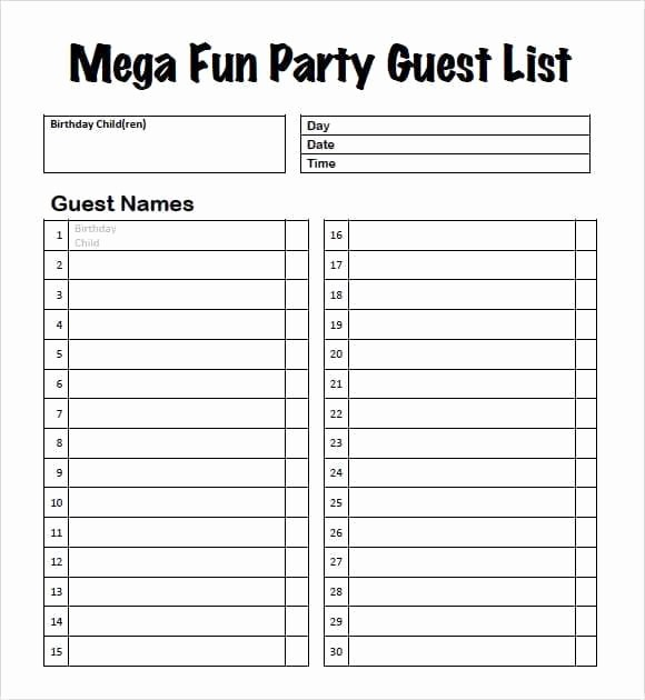Party Guest List Template Free Best Of 10 Party Guest List Templates Word Excel Pdf formats