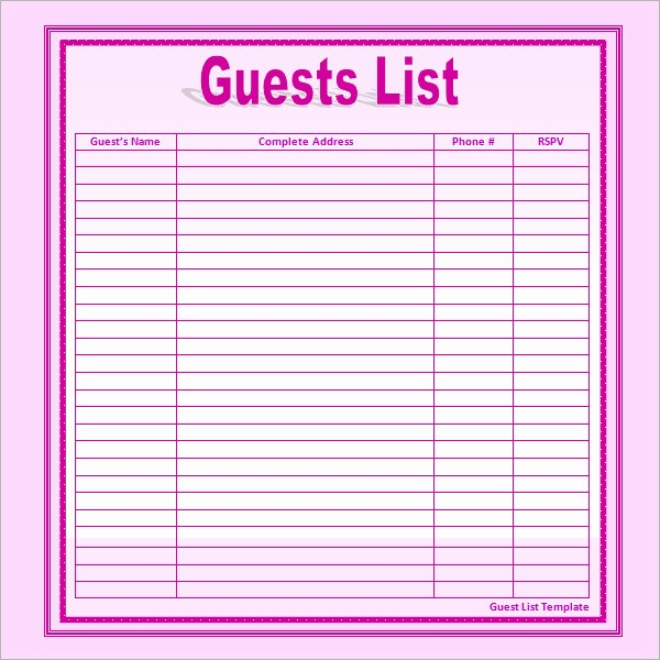 Party Guest List Template Free Unique 17 Wedding Guest List Templates – Pdf Word Excel
