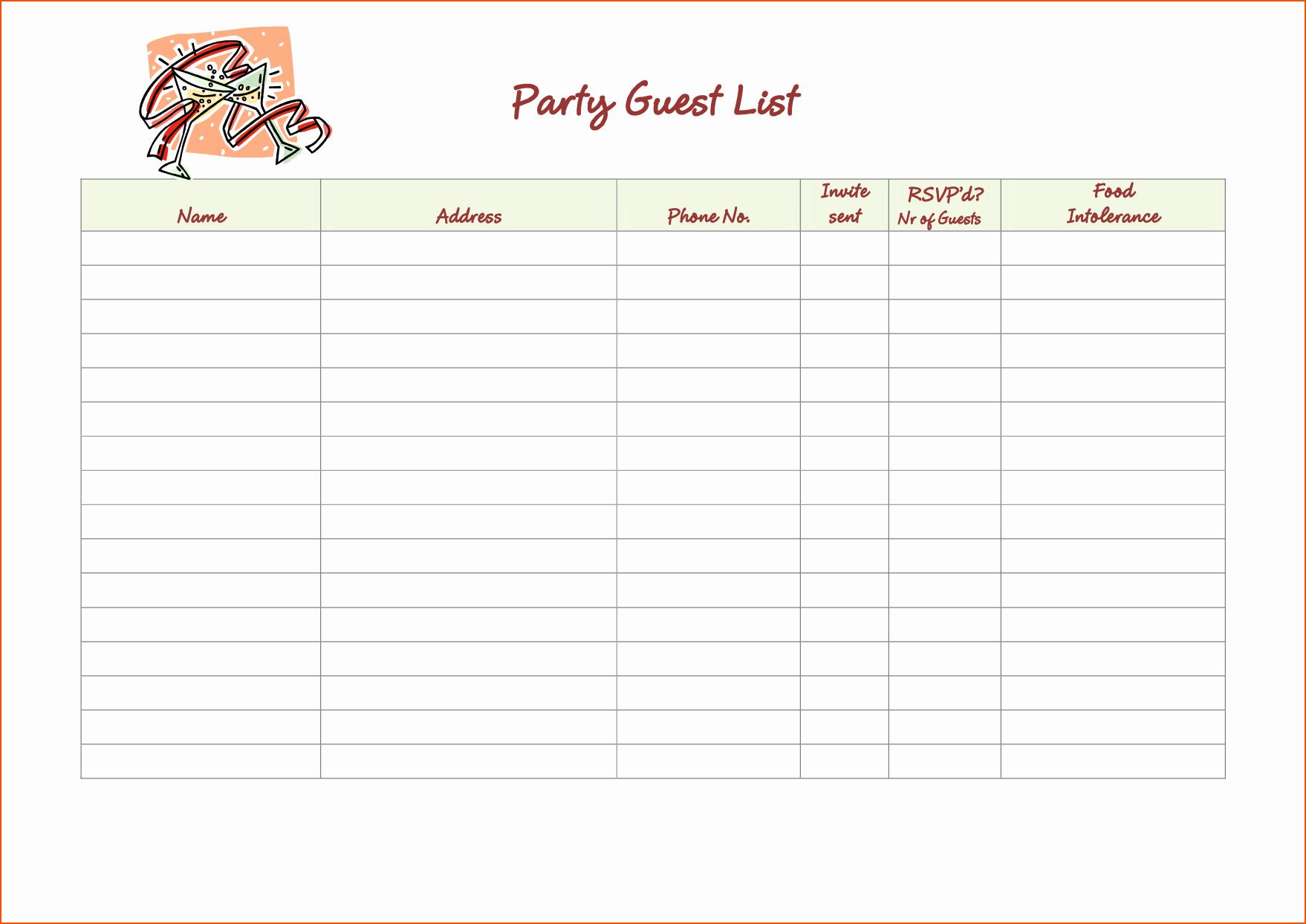 Party Guest List Template Free Unique 5 Party Guest List Template Bookletemplate