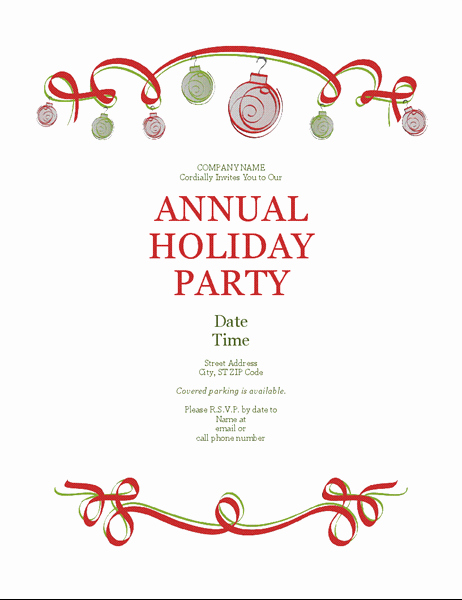 Party Invitation Template Microsoft Word Beautiful Holiday Party Invitation with ornaments and Red Ribbon