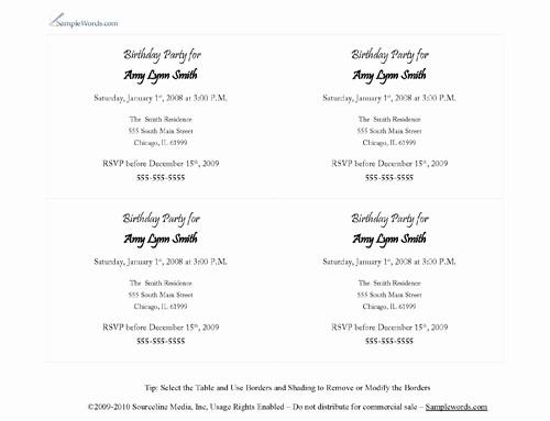 Party Invitation Template Microsoft Word Fresh Word Party Invitation Template