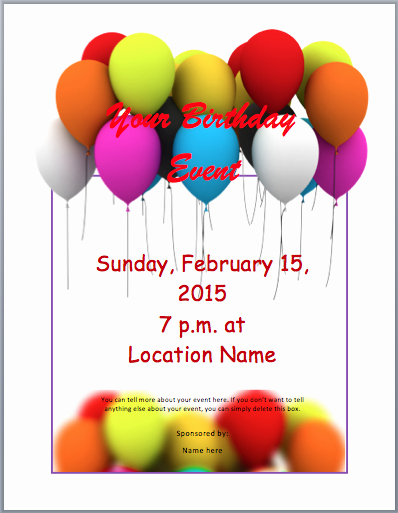 Party Invitation Template Microsoft Word New Free Party Flyer Templates for Microsoft Word Birthday