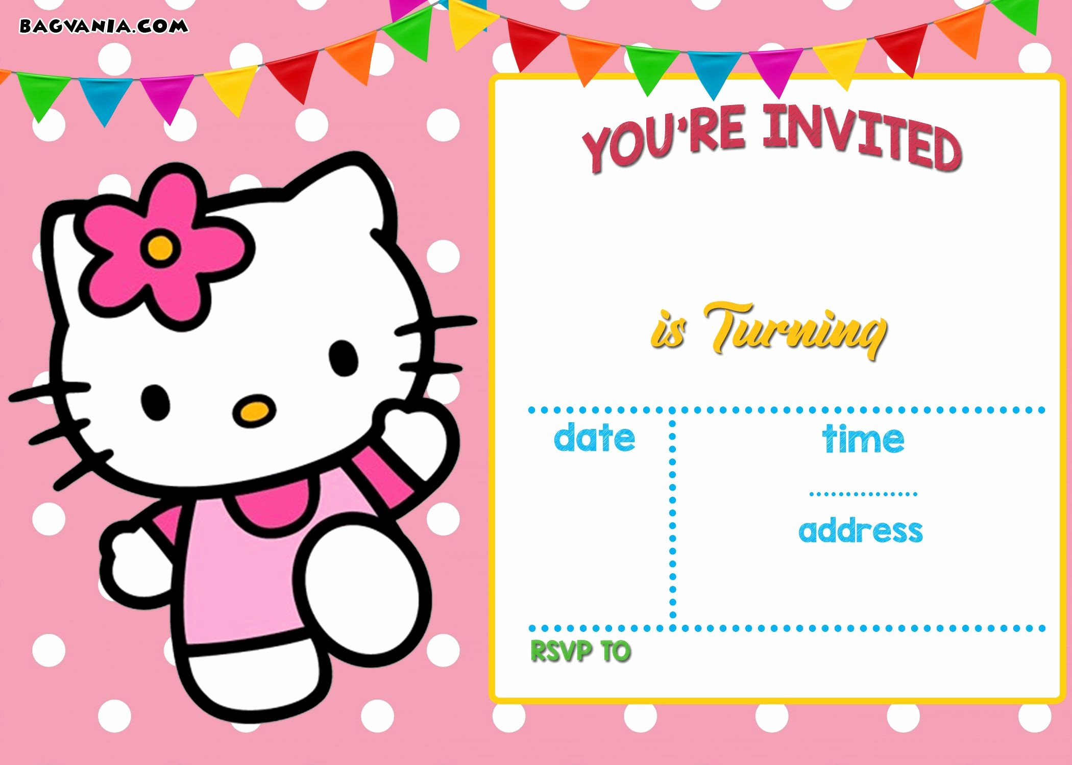 Party Invitation Templates Free Download Awesome Free Hello Kitty Invitation Templates
