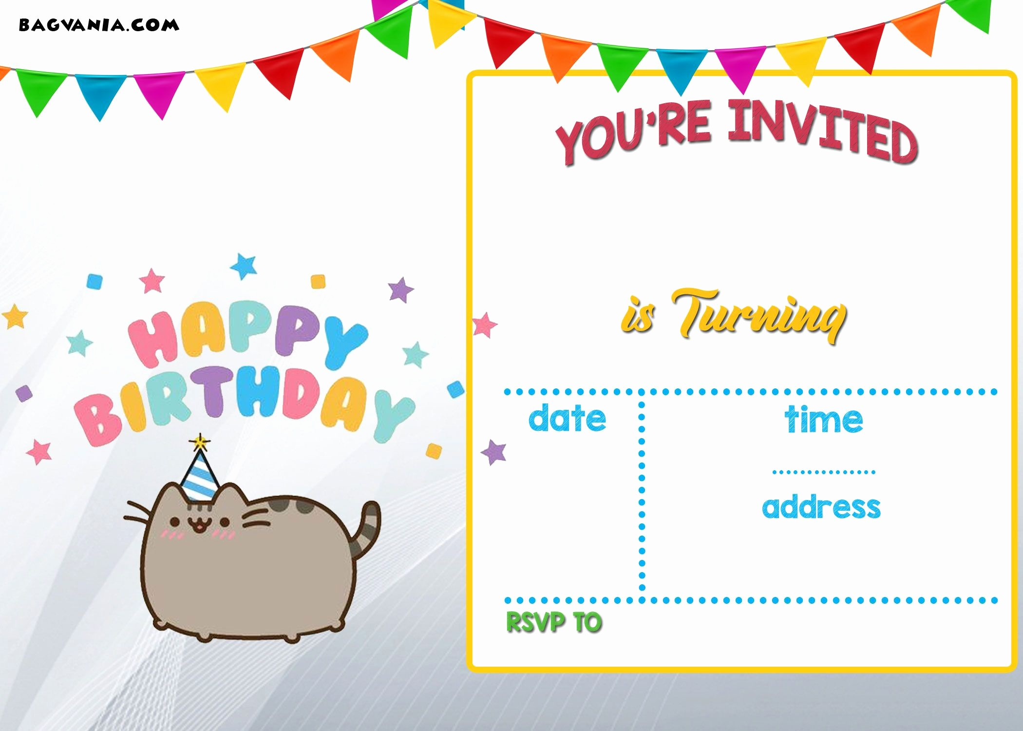 Party Invitation Templates Free Download Fresh Download Free Printable Pusheen Birthday Invitation