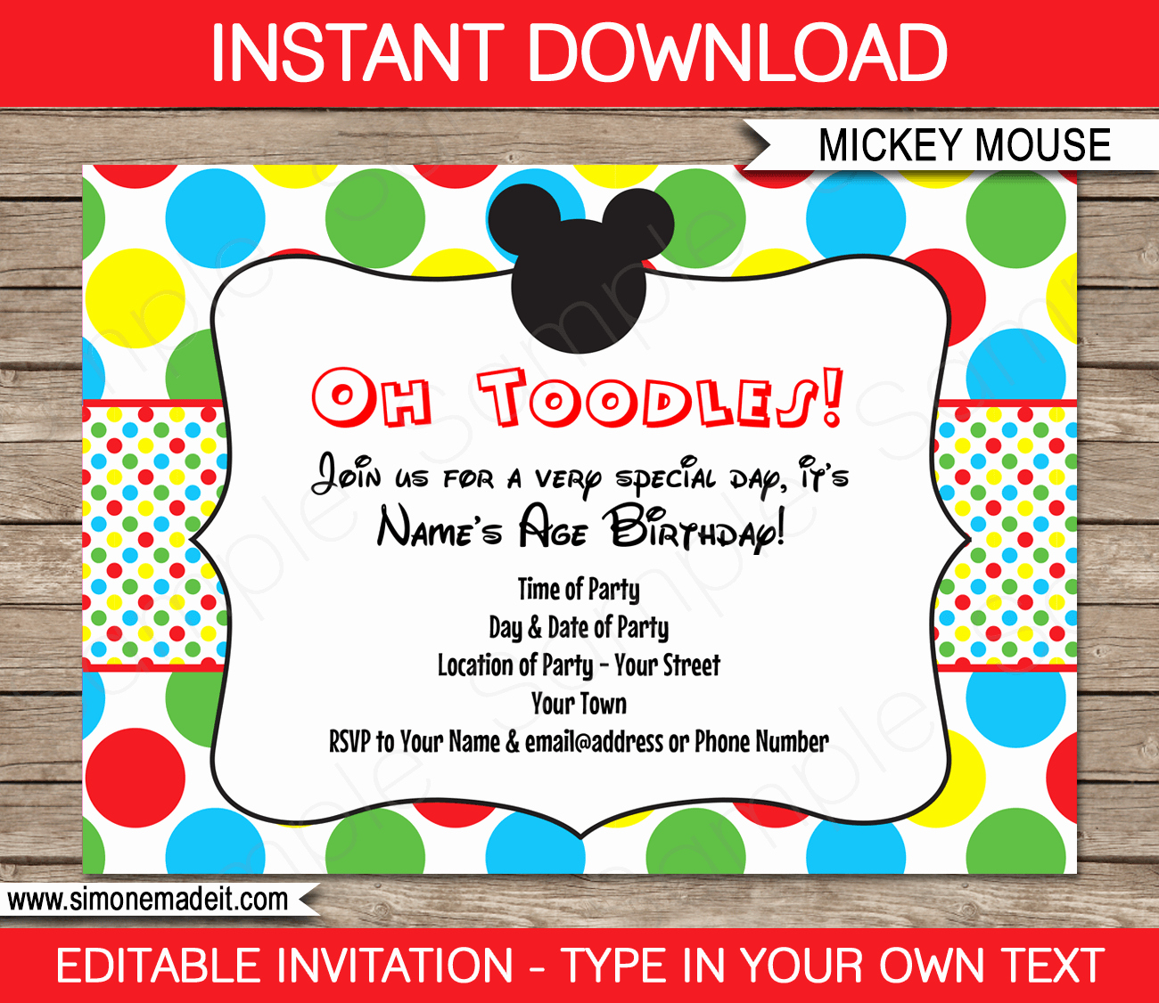 Party Invitation Templates Free Download Unique Mickey Mouse Party Invitations Template
