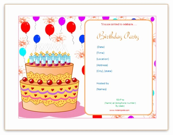 Party Invitation Templates Microsoft Word Beautiful Microsoft Word Templates Birthday Invitation Templates