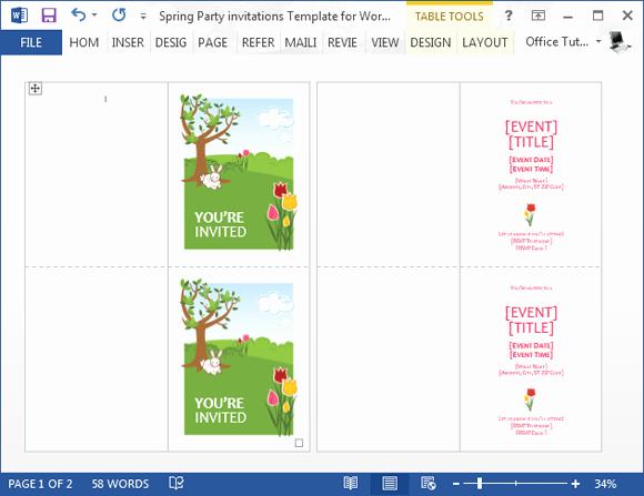 Party Invitation Templates Microsoft Word Beautiful Spring Party Invitation Template for Word