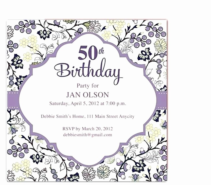 Party Invitation Templates Microsoft Word Elegant 50th Birthday Invitation Templates Cafe322