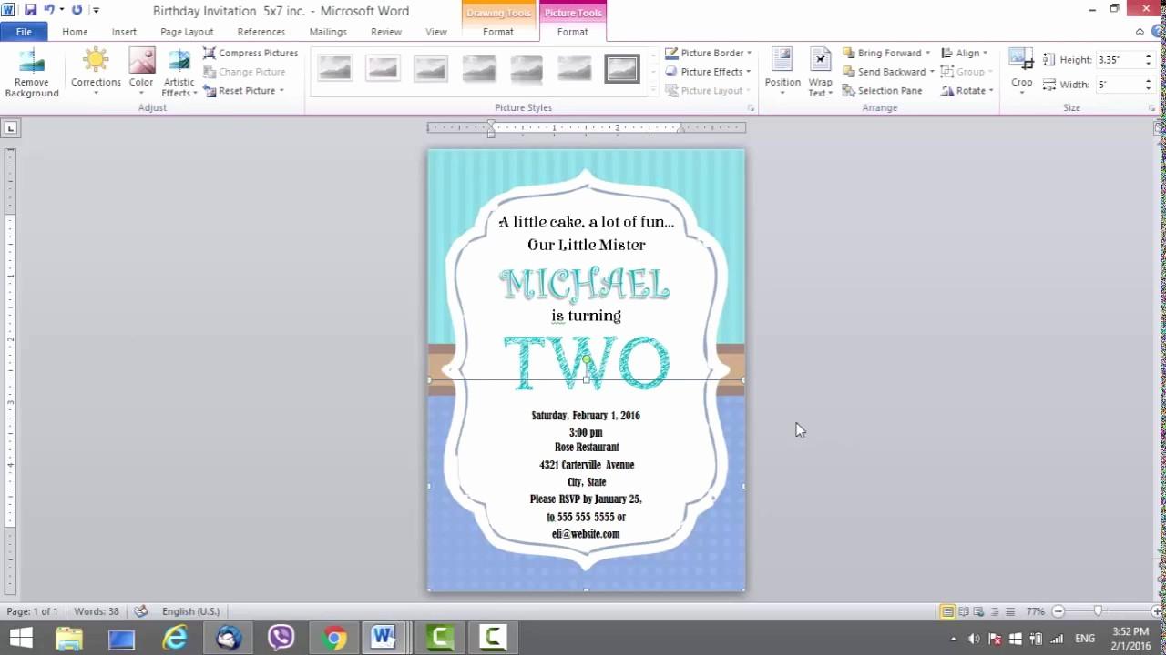 Party Invitation Templates Microsoft Word Elegant Birthday Invitation Template for Ms Word
