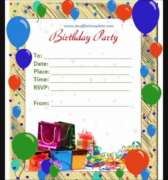 Party Invitation Templates Microsoft Word Fresh 50 Printable Birthday Invitation Templates