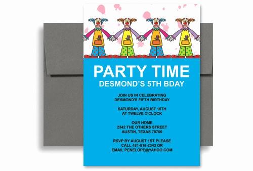 Party Invitation Templates Microsoft Word Unique Circus Clown Party Microsoft Word Birthday