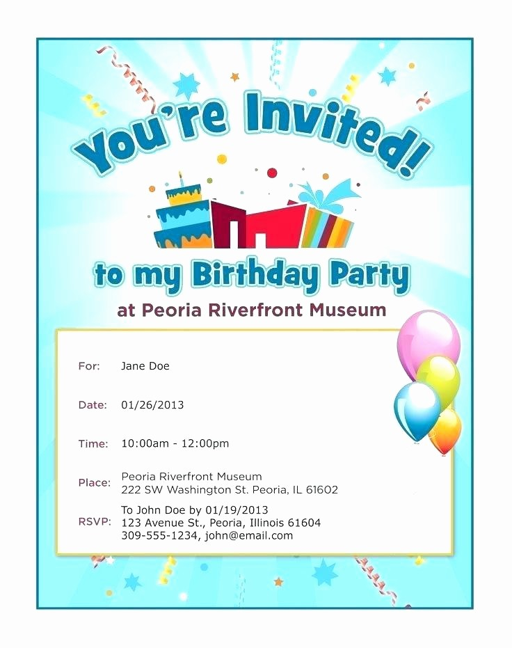 Party Invitations Templates Microsoft Word Beautiful Sample Gift Certificate Birthday Templates for Word