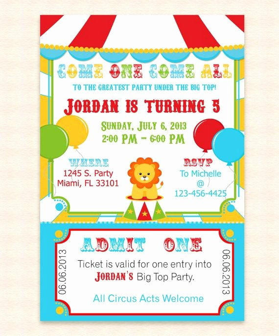 Party Invitations Templates Microsoft Word Inspirational Big top Circus Printable Invitation Design Editable