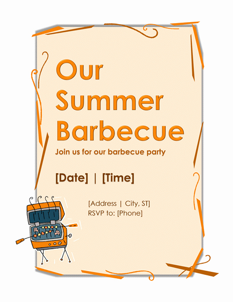 Party Invitations Templates Microsoft Word Luxury Bbq Party Invitation Template – Microsoft Word Templates
