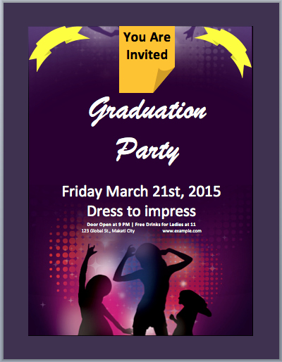 Party Invitations Templates Microsoft Word Luxury Graduation Party Invitation Flyer Template – Microsoft