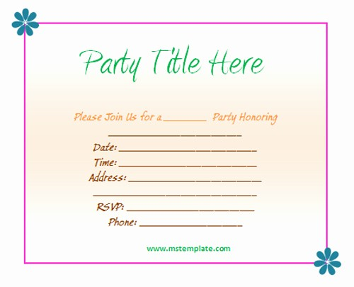 Party Invitations Templates Microsoft Word New Free Party Invitation Templates