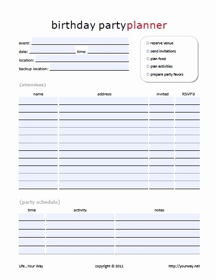 Party Planner Checklist Template Free Awesome Birthday Party Planning Checklist Template