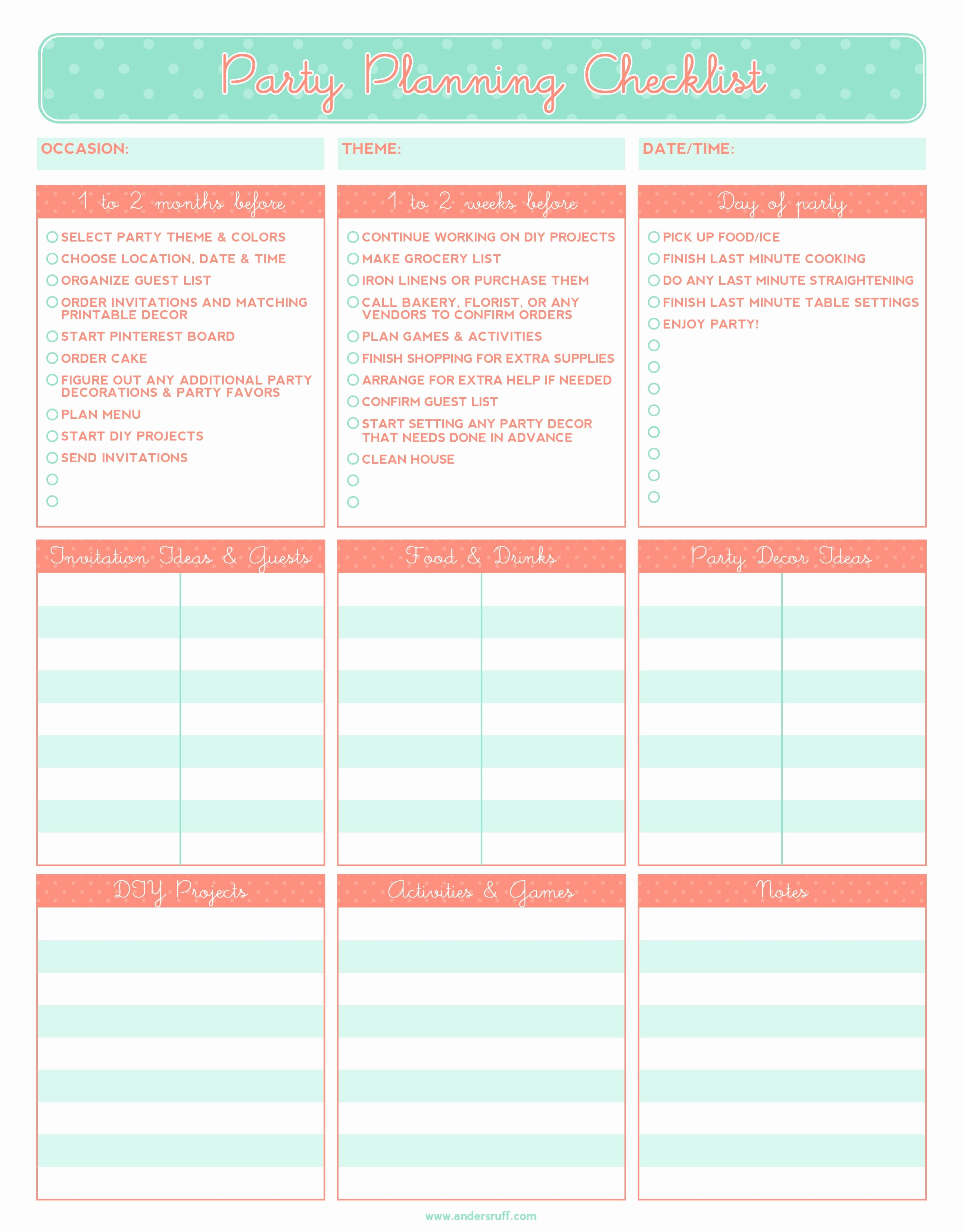 Party Planner Checklist Template Free Beautiful Free Printable Party Planning Checklist