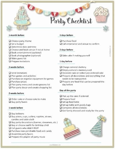 Party Planner Checklist Template Free Inspirational Party Planning Template