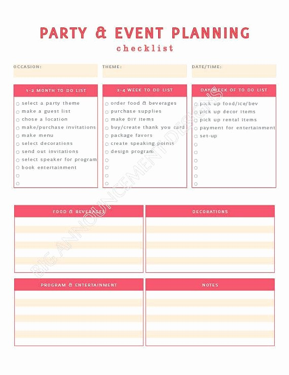 Party Planner Checklist Template Free Lovely event Planning 101 – Ida Skinner