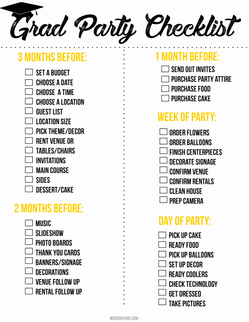 Party to Do List Template Awesome Graduation Party Printable Checklist Mooshu Jenne