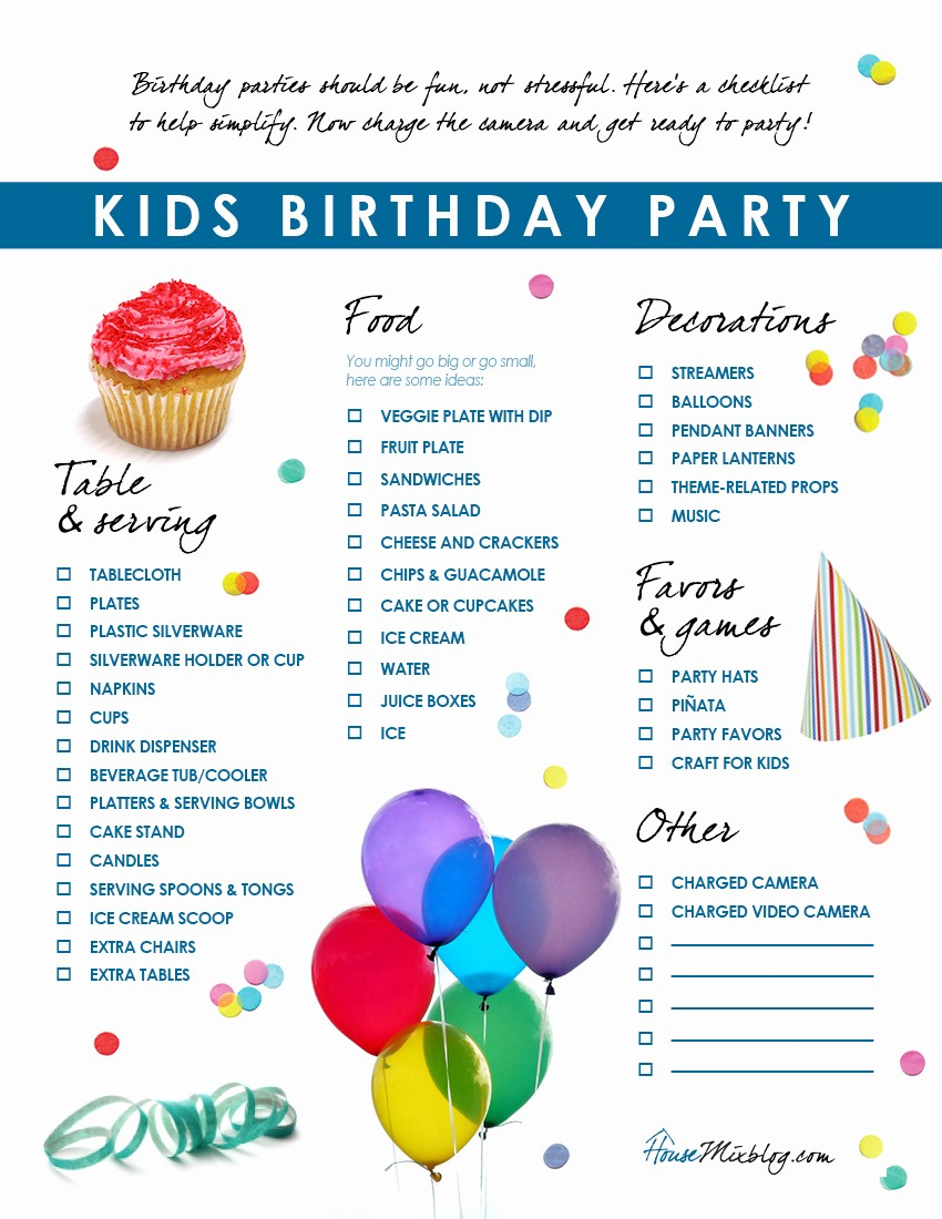 Party to Do List Template Awesome Kids Birthday Party Checklist