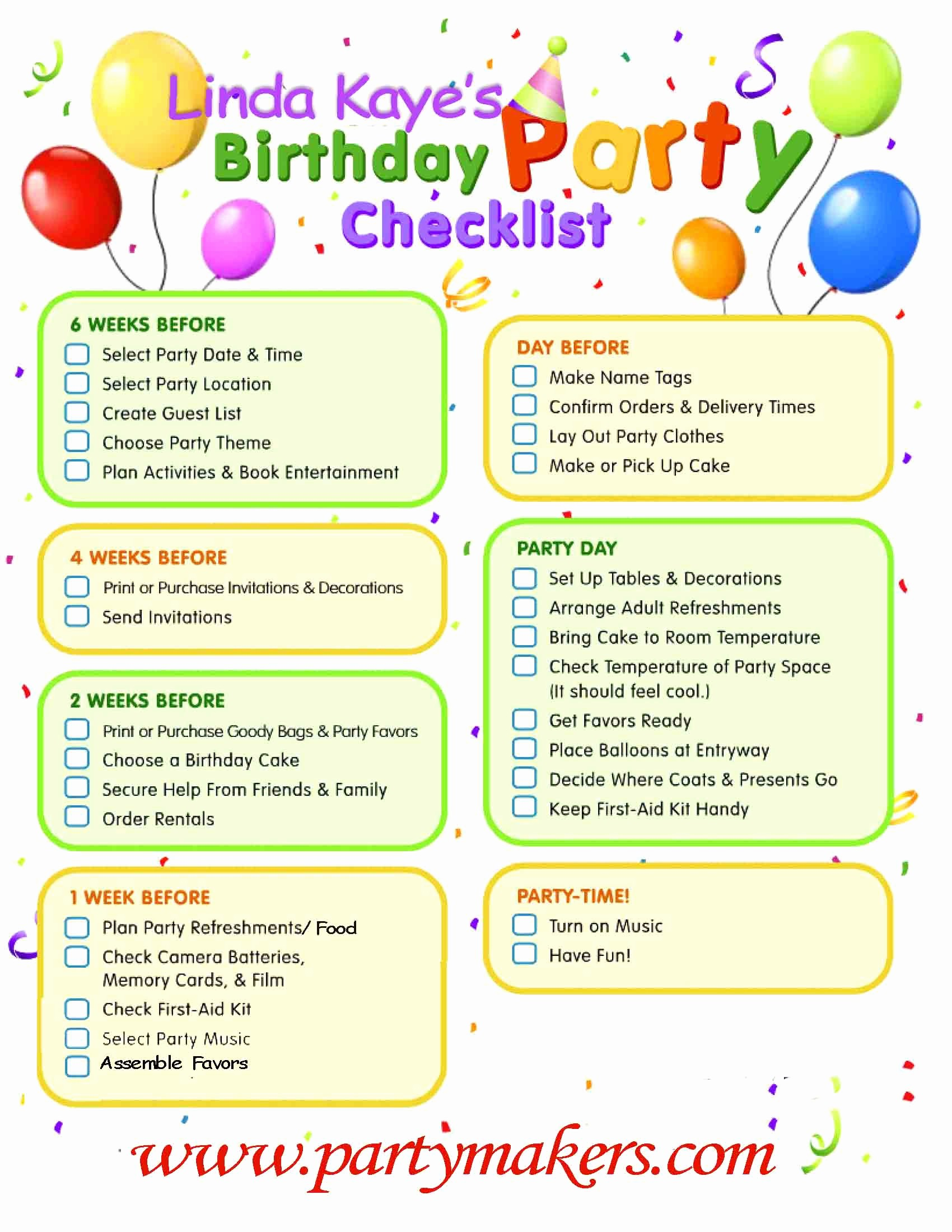 Party to Do List Template Best Of 8 Best Of 50th Birthday Party Checklist Printable