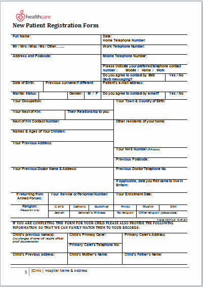 Patient Health History form Template Awesome Patient Registration form Ms Word