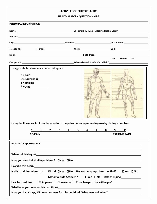 Patient Health History form Template Beautiful Medical History form Template