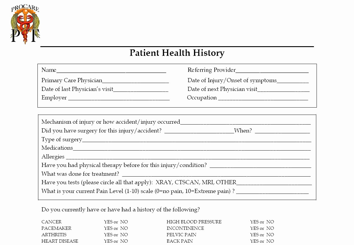Patient Health History form Template Inspirational Pro Care Physical therapy Group Pc