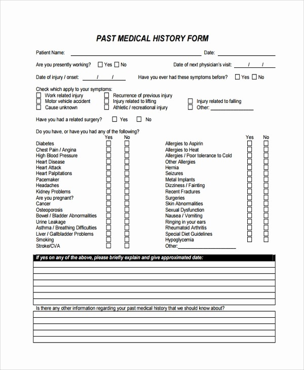 Patient Health History form Template Luxury 10 Medical History Templates