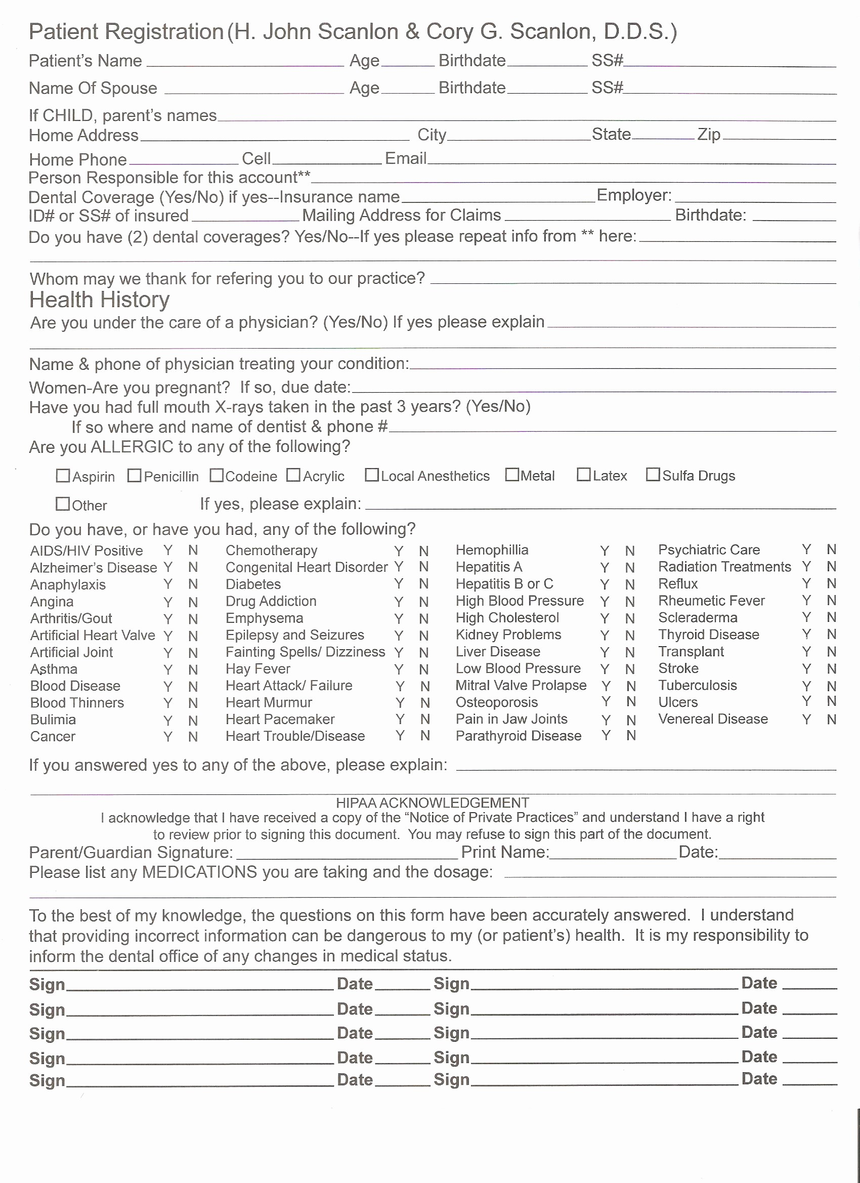 Patient Health History form Template Luxury Scanlon Family Dental St Peters & Florissant Mo