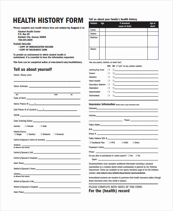 Patient Health History form Template New 10 Health History Templates