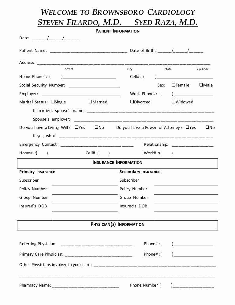 Patient Health History form Template New New Patient forms New Patient Medical History