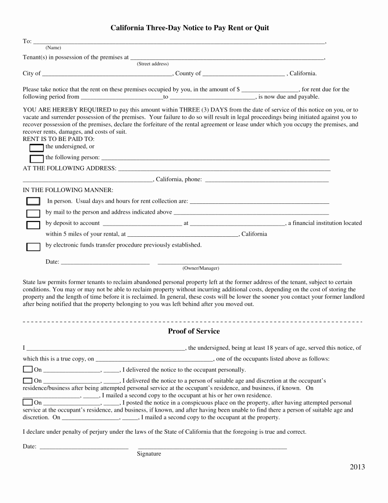 Pay or Quit Notice Sample Beautiful California 3 Day Notice to Quit form