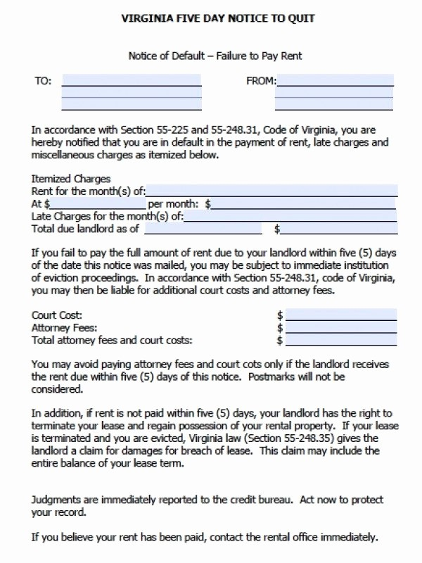 Pay or Quit Notice Sample Best Of Free Virginia Five 5 Day Notice to Quit