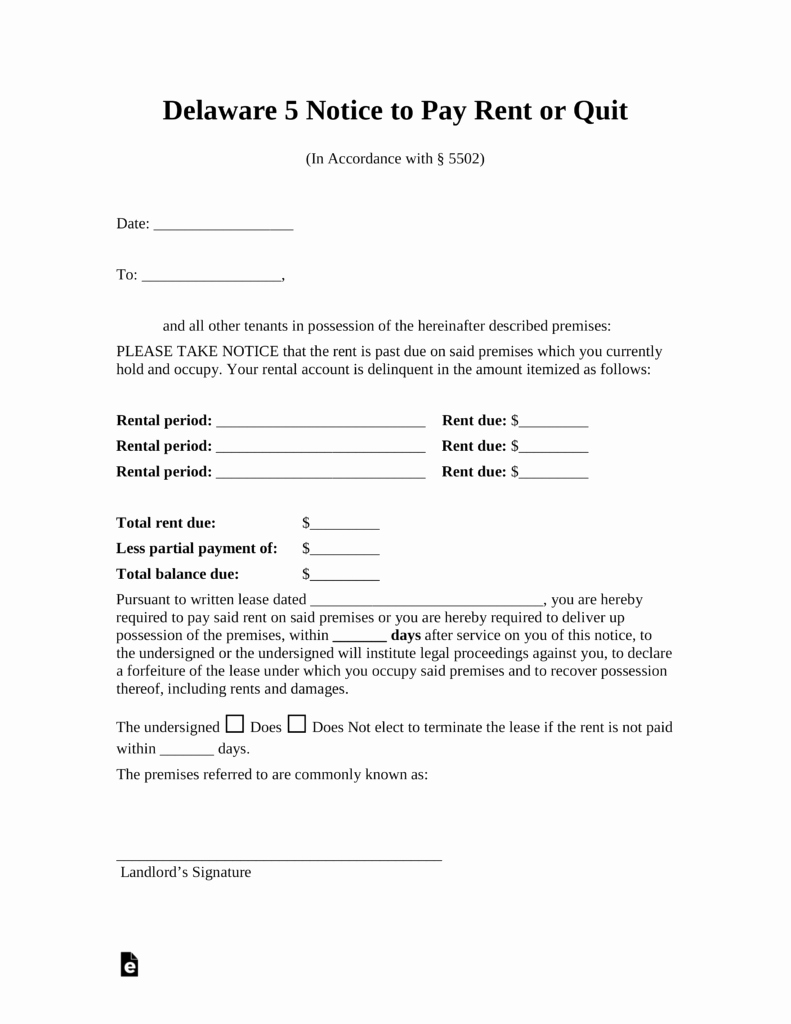 Pay or Quit Notice Sample Elegant Free Delaware 5 Day Notice to Quit form