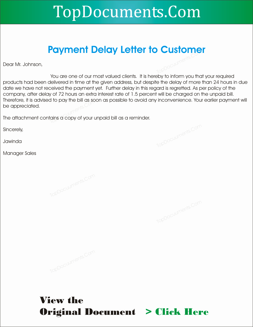Payment Request Letter to Client Beautiful Payment Delay Letter to Client – top Docx