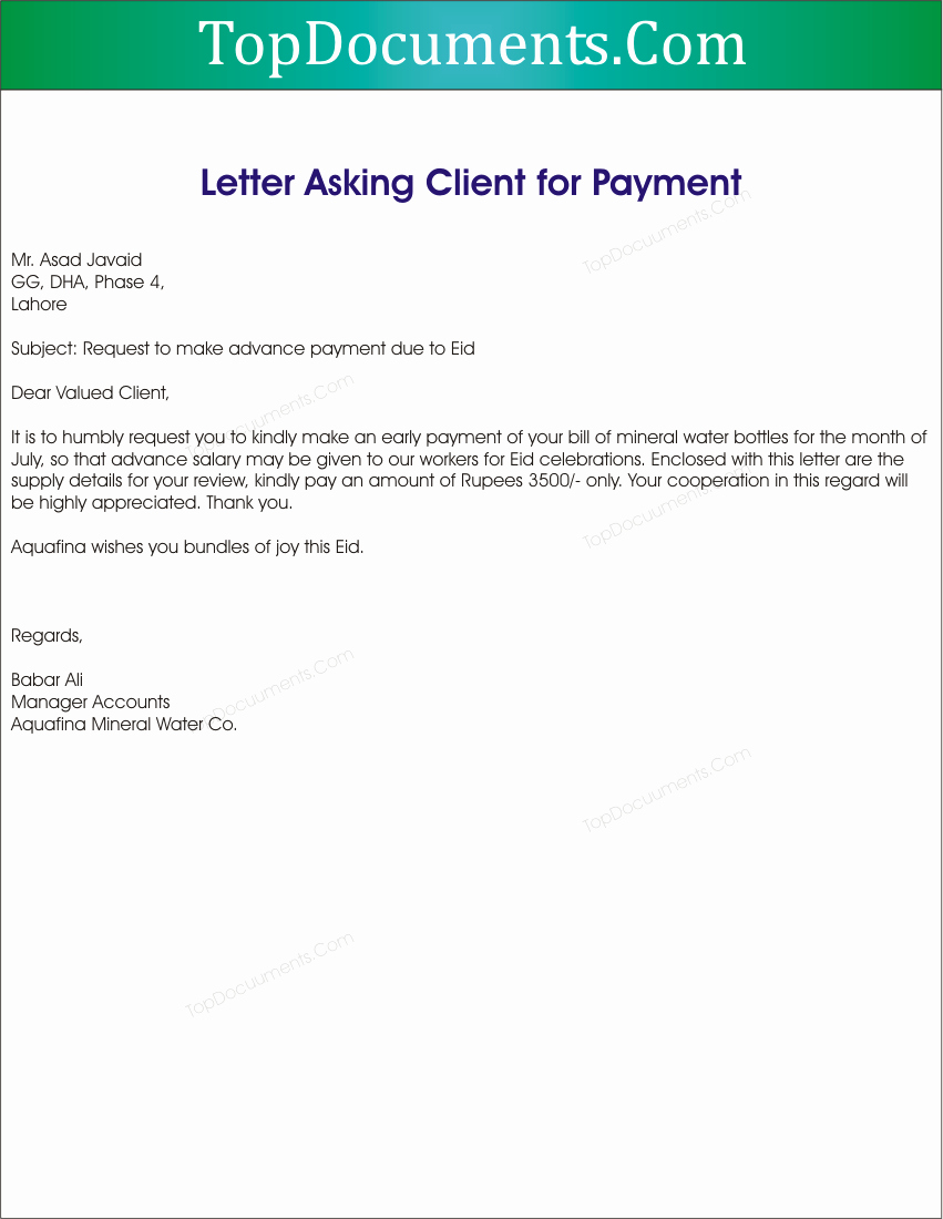 Payment Request Letter to Client Fresh Request Letter to Client for Payment – top Docx