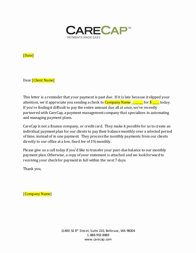 Payment Request Letter to Client Luxury Carecap 31 89 Day Past Due Payment Letter Generic