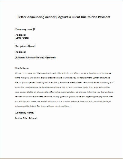 Payment Request Letter to Client New Letter Announcing Action Against A Client Due to Non