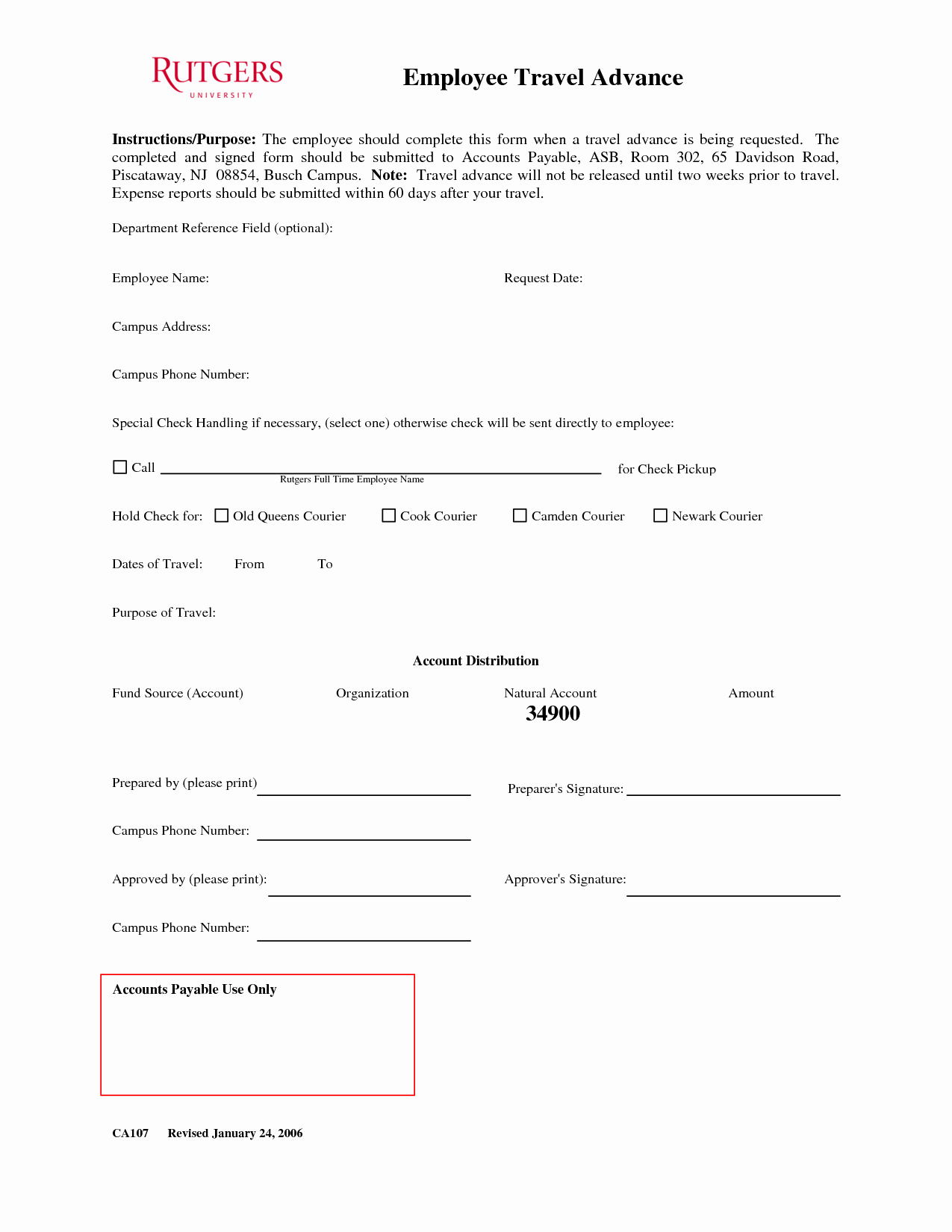 Per Diem Request form Template Awesome 26 Of Credit Card Cash Advance form Template