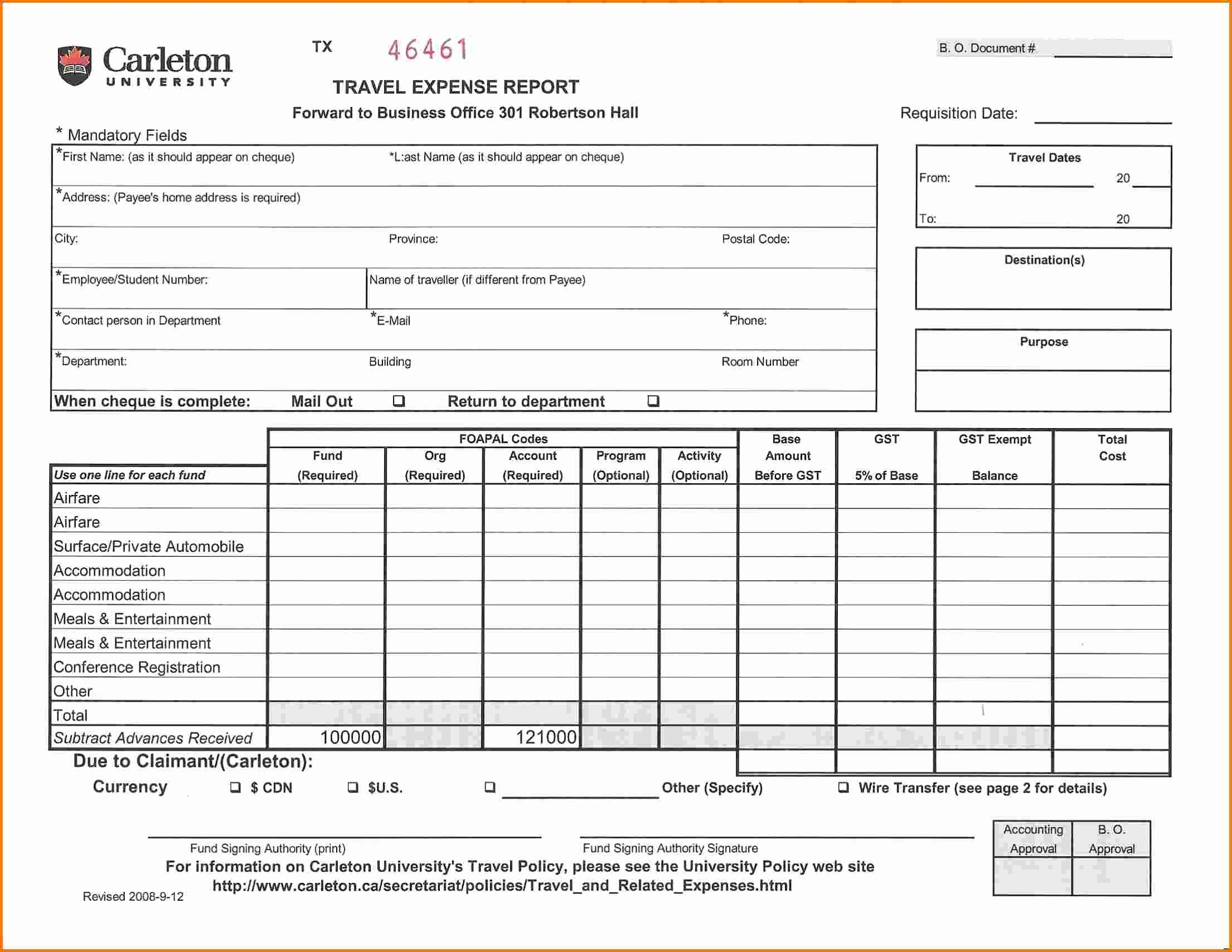 Per Diem Request form Template Beautiful 7 Travel Expense Report